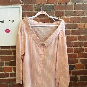 Pink Off the Shoulder Cotton Boyfriend Shirt